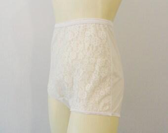 Vintage Panties Panty 1950s 50s White Sheer Lace Sissy Panties Van Raalte All Nylon Made in USA Modern Small to Medium