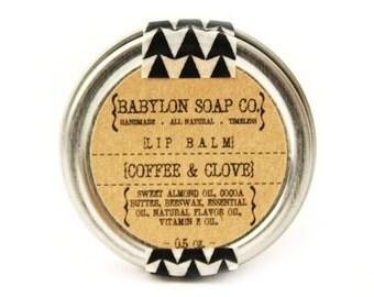 SHOP CLOSING SALE . Coffee Clove Lip Balm . Cocoa Butter and Beeswax . 100% Natural Lip Balm . Tin Lip Balm