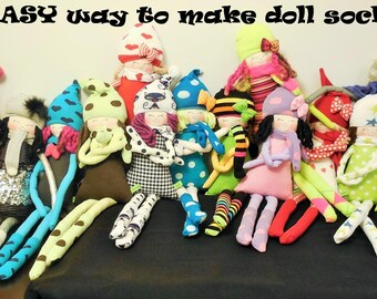 EASY way to make doll socks ,Step by Step making  the cloth doll socks , soft doll socks ,rag doll socks,  handmade socks,stuffed doll socks