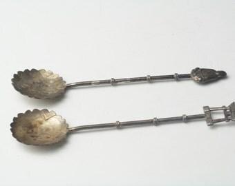 Vintage Spoon Japan Sterling Silver Buddha & Pagoda Pair Fancy Demitasse Spoons