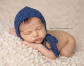 Newborn Hat, Classic Bonnet, Wool Bonnet, Dark Blue, Photo Prop