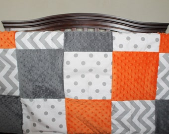 Patchwork Blanket- White Gray Dots, Gray Chevron, Gray Minky and Orange Minky Patchwork Baby Blanket