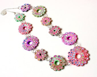 Polymer Clay Necklace Spring Rose Windows