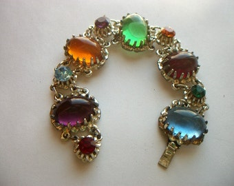 Vintage Bracelet With Glass Multi Color Cabochons