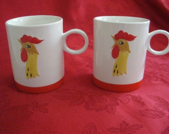 Vintage Set of 2 Holt Howard Rooster Mugs