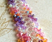 The Amelia- Violet and Topaz Swarovski Crystal Bangle Bracelet with Silver Foil Seed Beads