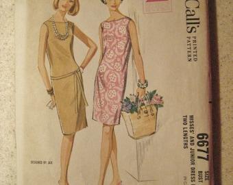 McCalls Pattern 6677 Slender Sheath Dress Size 14 Vintage 1960s