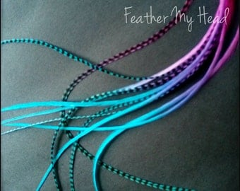 10 Tie Dye Fade Feather Extensions Whiting Grizzly Rooster Feathers X- Long 9-12 inches Multi Colored Surmmer Breeze