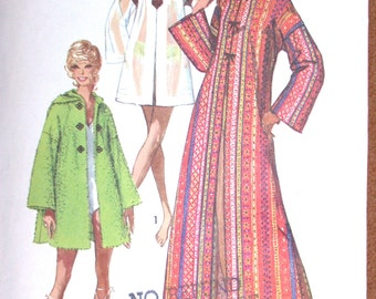 """Simplicity Caftan Pattern No 9426 Vintage 1970s Size Small 8-10 Bust 31 1/2"""" 32 1/2"""" Maxi Beach Cover Up With or Without Hood"""