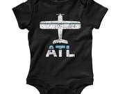 Baby Fly Atlanta One Piece - Infant Romper - ATL Airport - Nb 6m 12m 18m 24m - Atlanta Baby - 3 Colors