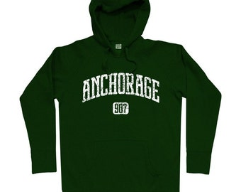 Anchorage 907 Hoodie - Men S M L XL 2x 3x - Anchorage Hoody Sweatshirt - Alaska - 4 Colors