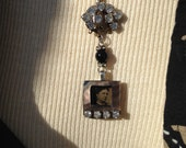 Assemblage Tintype Necklace, Lost in thought in 1870