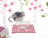 Wool Felt Soft Sculpture Paperweight Mouse - Mika