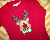 Red Reindeer Shirts - Boys Christmas Shirt - Rudolph Shirt - Rudolph Applique