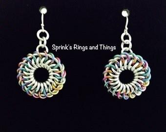 Chain maille earrings - Dahlia