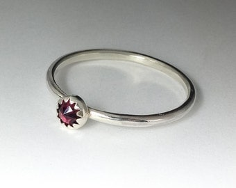 January Birthstone Garnet Ring - Stackable Sterling Silver Garnet Ring - 4mm rose cut Garnet