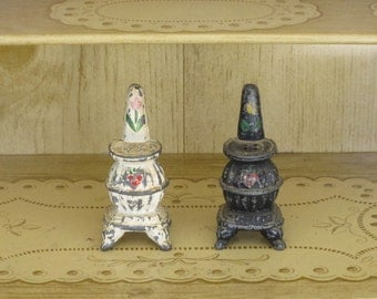 Pot Belly Stove Salt and Pepper Shakers Hand Painted Cast Iron