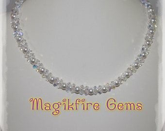 Swarovski White Pearl with Crystal Clear Bicone Necklace