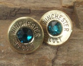 Winchester Colt 45 - Emerald - Ultra Thin Bullet Earrings