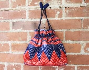 Vintage Boho 70s Woven Drawstring Bag