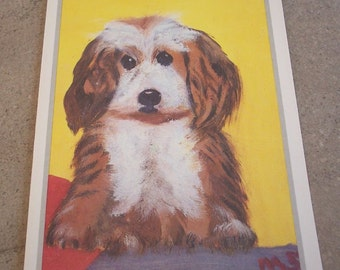 Vintage Puppy Get Well Greeting Card