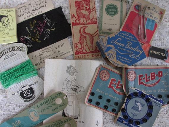Vintage Paper Pack Lot, Sewing Notions Ephemera, sewing paper tidbits, snap cards, DIY paper lot, Tag Supply, paper art supply DIY kit, 20P