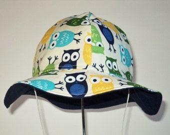 Baby Sun Hat, Owl Baby Hat, Boy Or Girl Sun Hat, Cotton Toddler Hat, Summer Hat, Wide Brim Hat, Newborn Hat, Floppy Beach Hat, Made To Order
