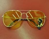 90s Deadstock Yellow Aviator Sunglasses