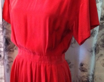 Red Silk work dress medium 1980