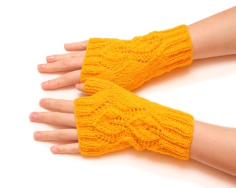 Yellow knitted gloves - Arm fingerless yellow fingerless no finger mittens hand mittens finger free gloves knitted gloves warm gloves