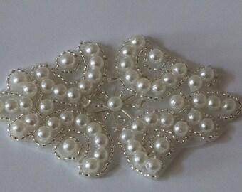 Pearl applique, Applique for Bridal Sashes, Headpieces, beaded pearl applique, Costumes, DIY weddings,   Model:DSCN2404