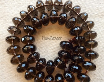 "Smoky quartz, full 16"" strand, 13mm faceted rondelles"