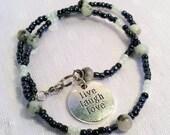 Live Laugh Love Mint Kiwi Jasper Double Wrap Bracelet