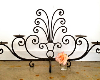 Vintage Wrought Iron Tabletop Candelabra Arte De Mexico
