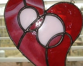 Pink and Ruby Red Stained Glass Heart