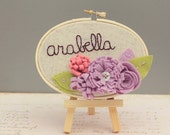 Nursery Name Sign - Personalized Wall Art - Embroidery Hoop Art - Lavender - 3D Wall Art -  Cursive Name Sign - Baby Name Embroidery
