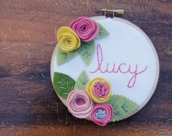 Kids Name Sign, Girls Nursery Decor, Personalized Pink, Rose, Yellow Wall Art, Shabby Chic. Embroidery Hoop, Felt Wall Hanging, Baby Gift