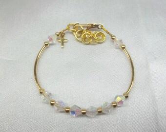 Girls Gold Cross Bracelet Easter Bracelet Baptism Bracelet Clear AB Crystal Bracelet Toddler Bracelet With Swarovski Elements BuyAny3+1 Free