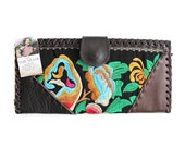 HMONG Wallet Clutch Embroidered Fabric Mixed Leather Handmade Thailand (BG373W.X703)