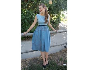 Blue Striped Vintage Dress