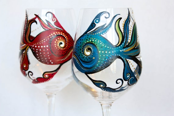 Hand painted wine glass red fish blue fish set of 2 for Painted glass fish