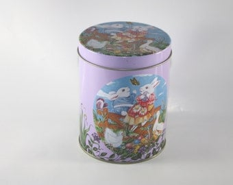 Bunny Rabbit Tin and Lid, Clean, Bright, Spring, Purple, Lavendar, Animal Scene