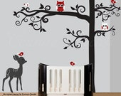 Childrens wall decal tree with red accents owl stickers birds and a fawn decals