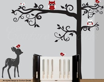 Tree wall decal with fawn red owls and birds stickers for baby