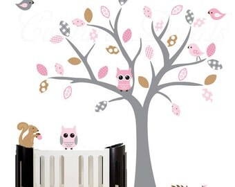 Girls wall decal tree with pink and grey accents owl decal - 0239
