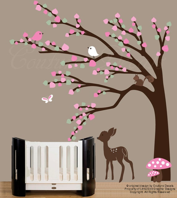 Baby nursery forest wall art decal with baby deer decal, birds, squirrel decals, fawn decal - 0186