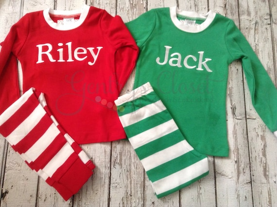 Monogrammed Christmas Pjs For Kids