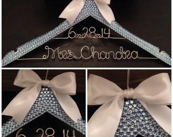 Bling Bridal Hanger / SOMETHING BLUE Wedding Hanger / Brides Hanger / Something Blue / Personalized Hanger / Mrs. Hanger / Bling Wedding