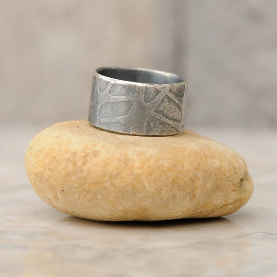 Tree Ring - Tree Ring Jewelry - Winter Trees Ring - Sterling Silver Ring - Mens Unique Wedding Band