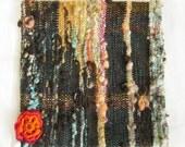 Freeform No 1 Wool Cushion  - Pillow Cover - Dark, orange flower